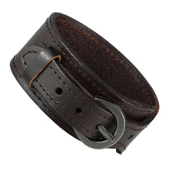 Urban Jewelry Brown Genuine Leather Cuff Bangle Men's Bracelet (adjustable 7.1 to 9.05 inches)