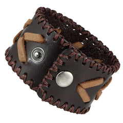 Urban Jewelry Men's Arrow Patterning Brown Genuine Leather Cuff Bracelet (8.3