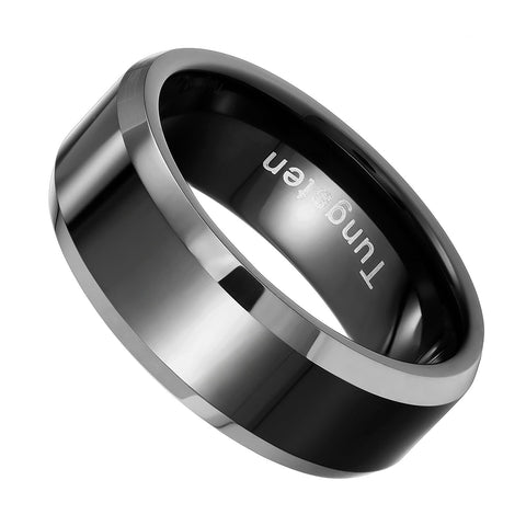 Urban Jewelry Solid Tungsten Men's Black Ring Band for Wedding or Engagement