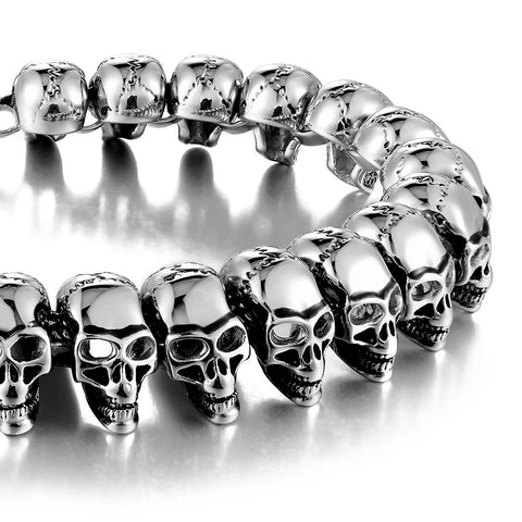 Urban Jewelry 8.5 Inches 316L Stainless Steel Skull Head Gothic Biker Bracelet for Men