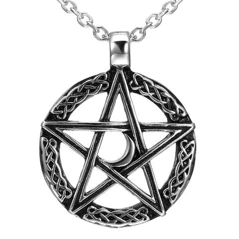 Vintage Style Pentacle Pentagram Crescent Moon Stainless Steel Pendant Necklace for Men (21-inch chain)