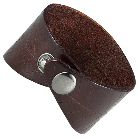 Urban Jewelry Leaf Shape Brown Genuine Leather Cuff Men's Bracelet (adjustable 7.9 inches, Width 1.7 inches)