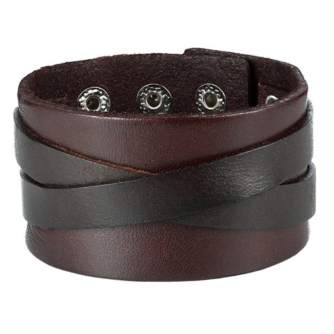 Urban Jewelry Men's X Brown Genuine Leather Cuff Bangle Bracelet Perfect Statement Piece (adjustable 8.66 inches, 1.6 inches width)