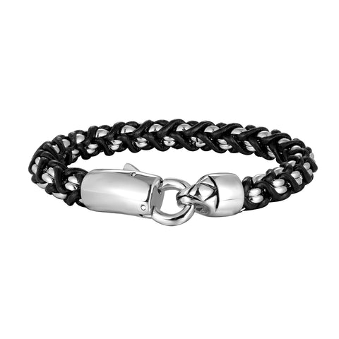 Contemporary Men's Bracelet – Classic Link Chain with Trendy Intertwining Rope Detail – Black & Polished Silver Color – Stainless Steel & Genuine Leather Material – Jewelry Gift or Accessory for Men