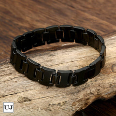 Urban Jewelry Stylish Black Solid Tungsten 8.3 Inches Link Bracelet for Men (Matte)