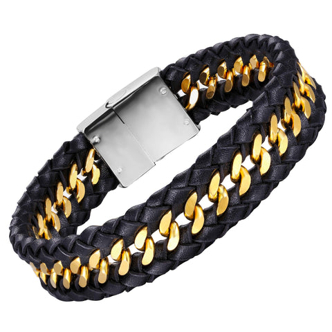 Stylish Contemporary Men's Bracelet – Braided Rope with Gourmette Chain Design – Black and Polished Gold Color – Made of Stainless Steel & Genuine Leather – Jewelry Gift or Accessory for Men