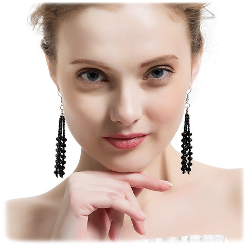The 1920's Collection Vintage Style Charcoal Black Multitier Beaded Earrings for Women