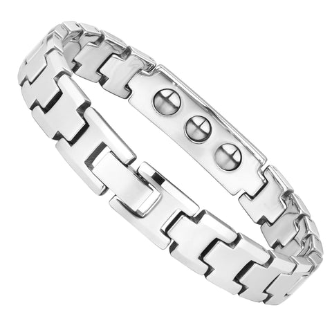Handsome Men's Bracelet – ID Band with Interlocking Track Link Design in a Polished Silver Finish – Strong & Durable Solid Tungsten Material – Jewelry Gift or Accessory for Men