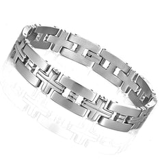 Impressive Men's Titanium Silver Toned Cross Link Bracelet (8.46 Inches)