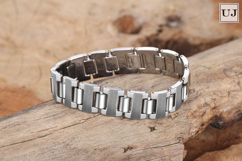 Urban Jewelry Stunning Solid Tungsten Metal Men's Link Bracelet 8.3 inch (21 cm), 16mm Wide (Heavy, High Polish)
