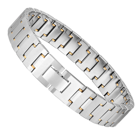 Entrancing Men's Bracelet – Interlocking Track Link Design – Radiant Silver Finish – Scratch & Tarnish Resistant Solid Tungsten – Jewelry Gift or Accessory for Men