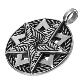 Double Pentacle Pentagram Stainless Steel Pendant Necklace 21-inch chain (Black, Silver)