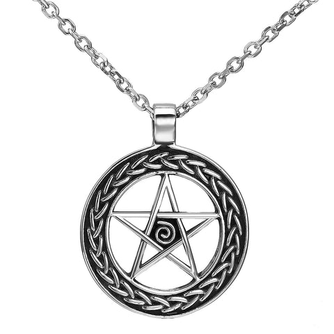 Magical Wiccan Pentagram Pentacle Pendant Stainless Steel Necklace for Men (21-inch chain)