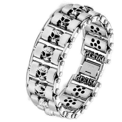 Urban Jewelry Stainless Steel Silver Tone Thick Skull Head 8.6 Inches Bracelet for Men