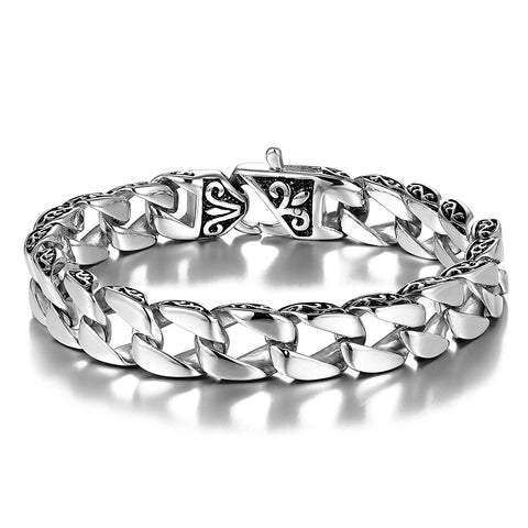 Urban Jewelry Beautiful Fleur De Lis Stainless Steel Link Bracelet for men (Silver, 8.5 Inches)