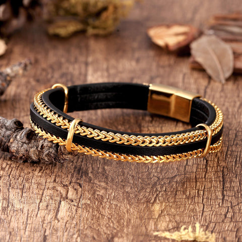 Urban Jewelry Splendid Men's Bracelet – Silver or Gold Color Foxtail Chains with Contemporary Black Leather Detail – Made of Rust & Discoloration Resistant Stainless Steel and Genuine Leather