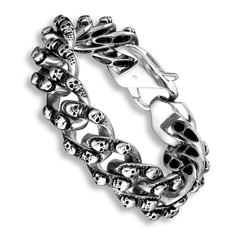 Urban Jewelry Elegant Men's Mini Skull Heads Chain Link Bracelet 8.85 Inches Stainless Steel (Silver Tone)