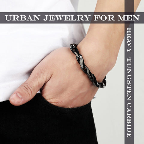 Urban Jewelry Classy Men's Solid Heavy Wheat Tungsten Carbide Bracelet - 3 Sided Links (Black)