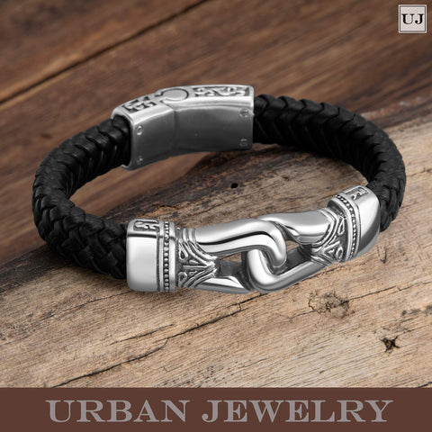 Urban Jewelry Men's Bracelet – Ancient Pattern Design in a Polished Silver Finish and Black Leather Rope Chain – Made of Stainless Steel and Genuine Leather for Him