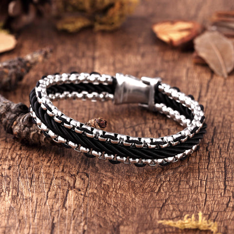 Contemporary Men's Bracelet – Metallic Bead Chain Design with Contemporary Black Leather Detail –Genuine Leather & Stainless Steel – Black & Polished Silver Color – Jewelry Gift or Accessory for Men