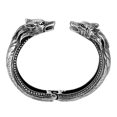 Boldly Sleek Men's Bracelet – Polished Silver Finish Band with Wolf's Head Ornament – Made of Rust & Discoloration Resistant Stainless Steel – Jewelry Gift or Accessory for Men
