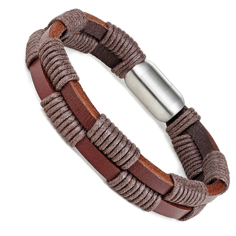 Urban Jewelry Stylish Genuine Leather Bracelet for Men with Magnetic Stainless Steel Clasp 8.5 Inch