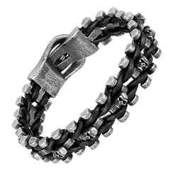 Dystopian Men's Bracelet – Contemporary Black Leather Rope with Interlocking Track Chains – Comfy Genuine Leather & Stainless Steel – Black & Gun Metal Grey Color – Jewelry Gift or Accessory