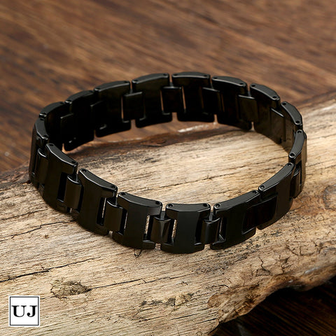Urban Jewelry Stylish Black Solid Tungsten 8.3 Inches Link Bracelet for Men