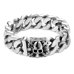 Urban Jewelry Unique 9 Inches Men's Stainless Steel Silver Skull Head Link Chain Bracelet