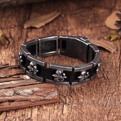 Modern Men's Bracelet – Interlocking Box Chains with Fleur De Lis Emblem – Made of Comfy Genuine Leather & Stainless Steel – Black & Gun Metal Grey Color –Jewelry Gift or Accessory for Men