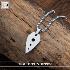 URBAN JEWELRY Men's Pendant Necklace Modern UFO Metal Spear Design in a Polished Silver Finish – Comes with Chain Necklace – Made of Solid Tungsten Material for Him