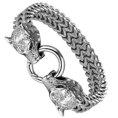 Daringly Bold Men's Biker Bracelet – Foxtail Chain with Wolf's Head Design – Polished Silver Finish – Made of Rust & Discoloration Resistant Stainless Steel – Jewelry Gift or Accessory for Men