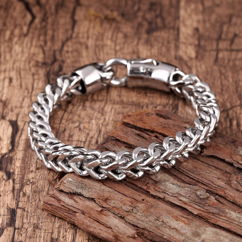 Dapper Men's Bracelet – Foxtail Chain Design in a Polished Silver Finish – Rust & Discoloration Resistant Stainless Steel – Jewelry Gift or Accessory for Men