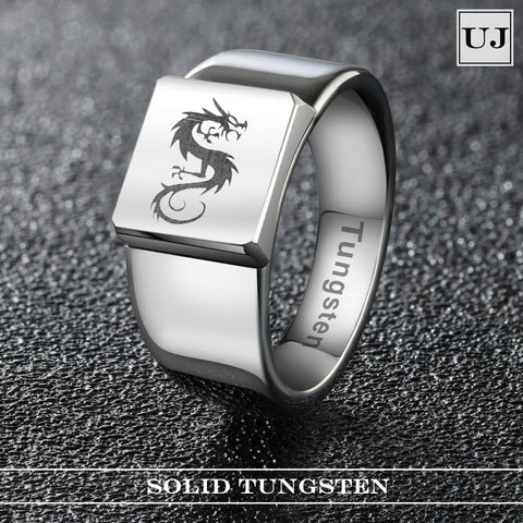 URBAN JEWELRY Men's Ring Featuring Classic Celtic Dragon Emblem in a Silver Finish – Punk Rock Biker Style – Made of Solid Tungsten Material for Him