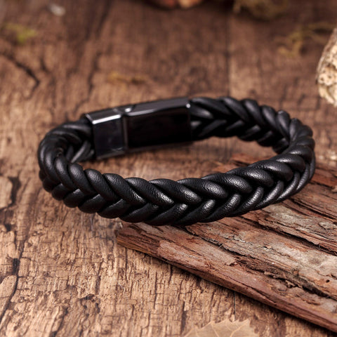 Stylish Men's Bracelet – Contemporary Black Braided Leather Rope Design with Gunmetal Grey Clasp – Made of Comfy Genuine Leather & Stainless Steel – Jewelry Gift or Accessory for Men