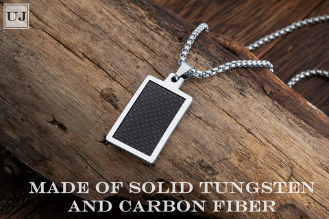 URBAN JEWELRY Solid Tungsten Carbon Fiber Pendant - Surgical Stainless Steel Silver 22 inch Necklace Chain - Modern Design with Geometric Pattern – 4 Styles and Colors to Choose from