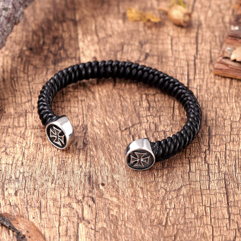 Stylish Men's Bracelet – Bolnisi Cross Emblem in Black & Silver Color – Black Braided Rope Cord Band – Made of Genuine Leather & Rust Resistant Stainless Steel – Jewelry Gift or Accessory for