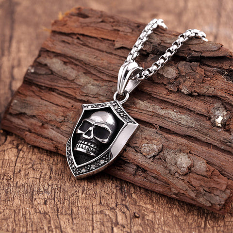 Bold Men's Biker Necklace – Death's Skull Shield Pendant in a Polished Black and Silver Color – Rust & Discoloration Resistant Stainless Steel Pendant and Chain – Jewelry Gift or Accessory for Men
