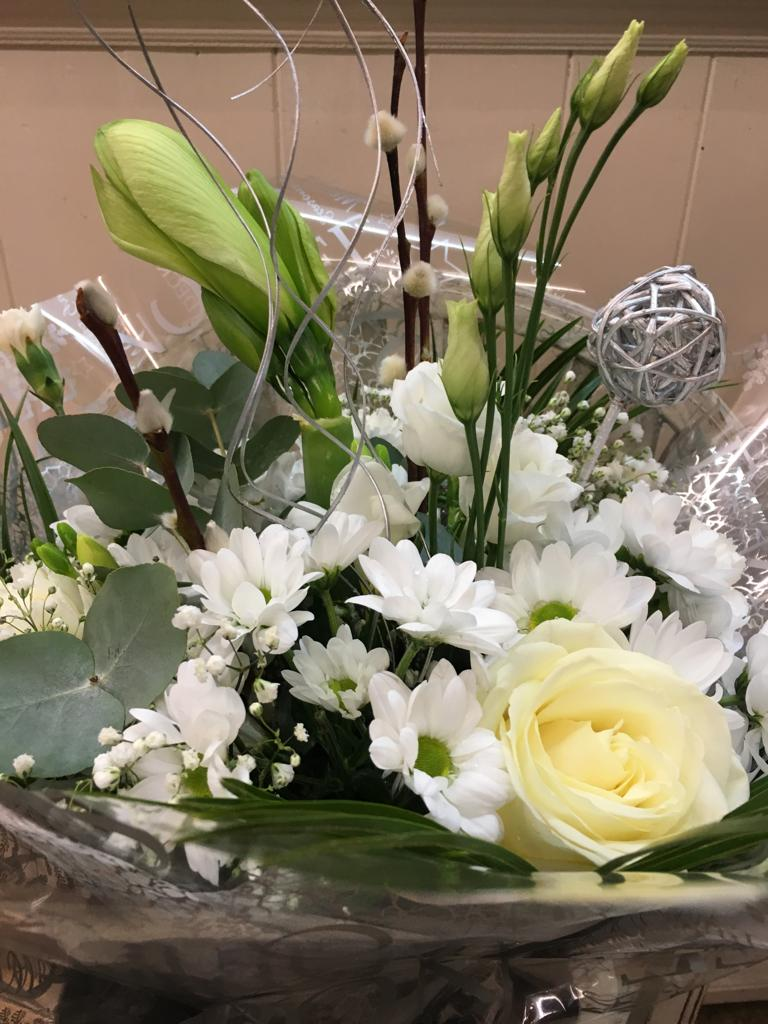 Snowflake Christmas Hand Tied Bouquet - Helens Flowers Grantham