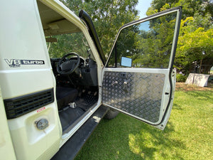 Toyota Land Cruiser 75, 78, 79 Series Checker Plate Aluminium Door Trim Panels.