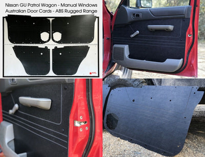 Nissan GU Patrol Wagon Rugged ABS Door Cards - Manual Window Models - Black