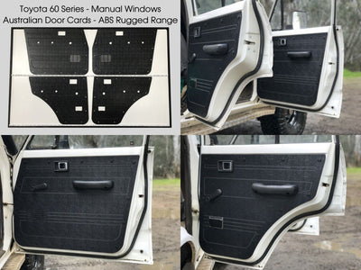 Toyota Landcruiser 60 Series Rugged ABS Door Cards - Manual Window Models - Black