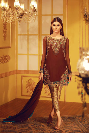 Antique Brown | Pakistani Designer Outfit | Sarosh Salman