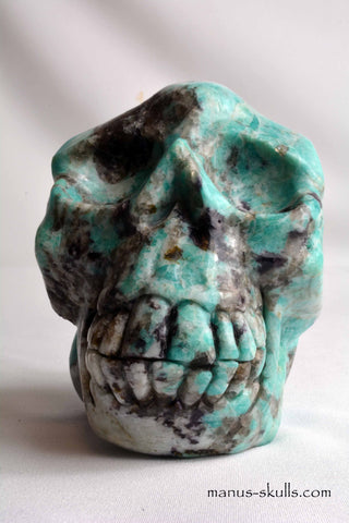 Large Amazonite/Smokey Quartz/Lepidolite/Tourmaline Skull .....NEW!