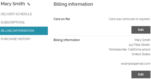 Updating Billing Information