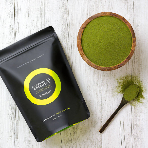 Tropeaka Superfood Greens + D Powder is a nutrient dense superfood powder that helps cleanse and purify your body
