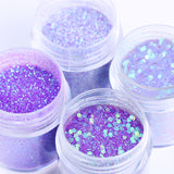 4 Box set of Purple Nail Glitter