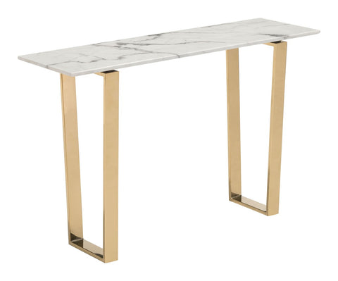 Zuo Modern Atlas Console Table White & Gold - 100654