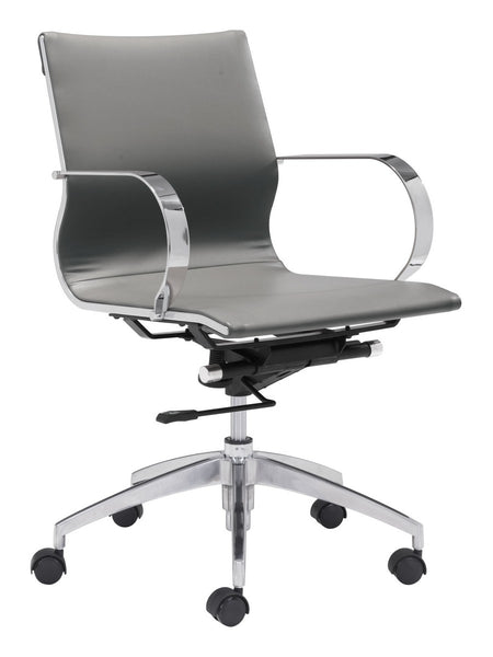 Zuo Modern Glider Low Back Office Chair Gray - 100835