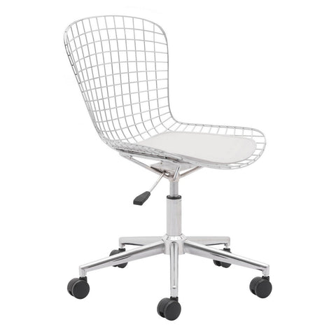 Zuo Modern Wire Office Chair Chrome & White Cushion - 100948
